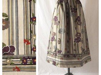 【和柄】はんなりと可愛い裾切替スカート:80cm丈(パープル)の画像