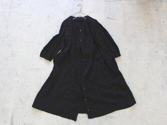 ギャザーロングシャツ*リトアニアリネン100% black【受注生産】の画像