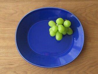 新作 25㎝オーバルリム皿 瑠璃の画像