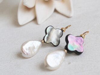 黒蝶貝×淡水真珠のピアス*フラワーモチーフ*k14ゴールドフィルドの画像