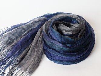 手織りシルクストール【淡月*01】の画像