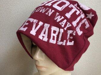 秋冬素材の帽子 英字   厚地の画像