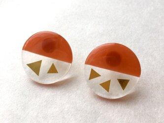 ハーフクリアサンカク(オレンジ)サージカルステンレスピアスの画像