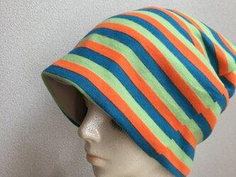 秋冬素材の帽子 カラフルボーダー  中〜厚地の画像