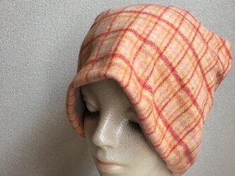 秋冬素材の帽子 オレンジチェック 中厚地の画像