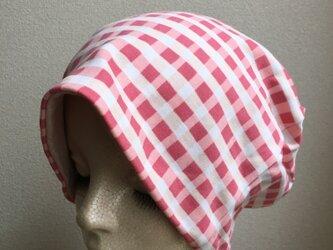 秋冬素材の帽子  ピンクのブロックチェック 中厚地の画像