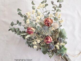 薔薇とユーカリのブーケ・スワッグ ※ラッピングは別途購入をお願いしますの画像