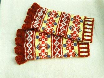 手紡ぎ毛糸の指なし手袋【れんがとクリーム色】の画像