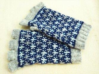 手紡ぎ毛糸の指なし手袋【ネイビー雪の結晶柄】の画像