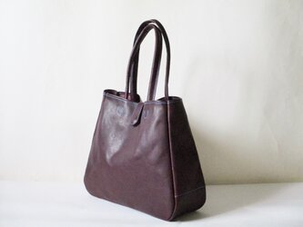 えみくらら様オーダー品 イタリア革のマチ有り大きめトート(プルーニャ)紫の画像