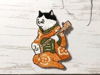 手刺繍浮世絵ブローチ*歌川国芳「朧月 猫のさうし」の三味線猫Ⅱの画像