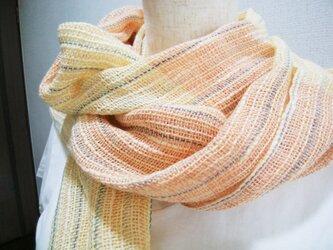 手織りストール(ピンク×きいろ)の画像
