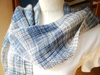 手織りストール(藍×白)の画像