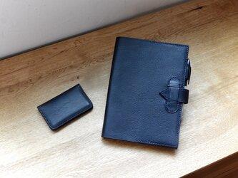 A5サイズ手帳カバー/ネイビー/イタリアンレザーの画像