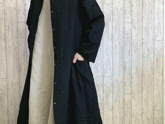 新作 2WAY 羽織り 黒花柄コットンレース・ ロングカーデ コートワンピ M~2L,3L~5Lサイズ セミオーダー可の画像