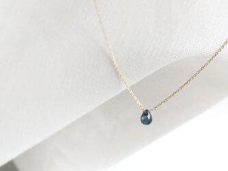 【K10YG】9月の誕生石サファイア 宝石質ドロップ ブリオレットカット ネックレスの画像