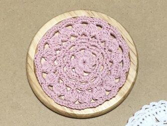 ☘️木製コースター*(ピンク)*花コットン 1枚の画像