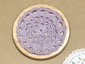 ☘️木製コースター*(淡パープル)*花コットン 1枚の画像