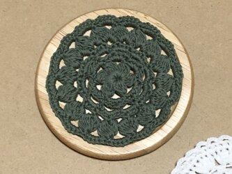 ☘️木製コースター*(抹茶)*花コットン 1枚の画像