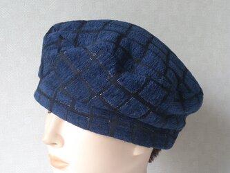 魅せる帽子☆ネイビー&ブラック格子柄のベレーの画像