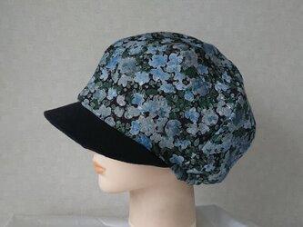 魅せる帽子☆ふんわり♪レトロプリントのリバーシブルキャスケット~フラワープリントの画像