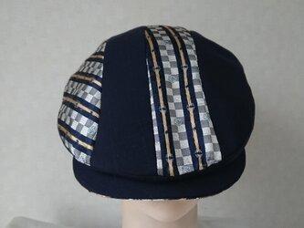 魅せる帽子☆シルクストライプとサマーウールのハンチング~ネイビーの画像