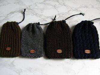 ラムウールの手編みカイロカバー(4色各1点送料込み)の画像