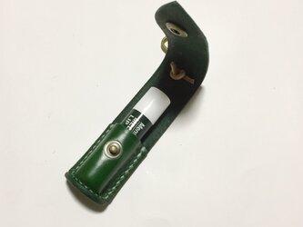 【プルアップレザーグリーン】そのまま使えるリップクリームケース 緑革 印鑑入【ニベアリップブライトアップ可 】の画像