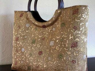 金地花唐草の袋帯の手提げ 丸い木の手 【値下げしました】の画像