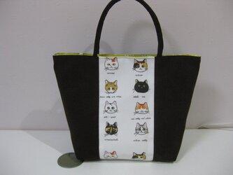 桜耳猫柄バッグの画像