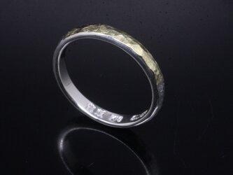 指輪 メンズ レディース : 甲丸 岩石丸 鎚目 シルバー リング 3mm幅 シルバー×K18 14~26号 シンプルの画像