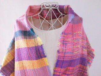 手織り ・ロングベスト・メリノウール・さをり織り(あの日の夕焼け )の画像