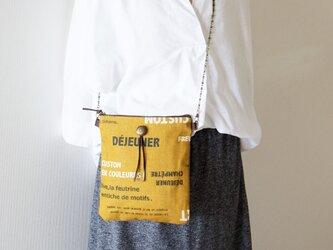 一点もの!マスタード色リネン100%仏字のショルダーポシェットバッグの画像