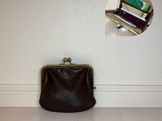 上質牛革  ポッケ付き miniがま口財布◆焦げ茶の画像