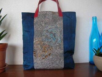 着物リメークドラゴンの手提げ☆ビーズ刺繍の画像