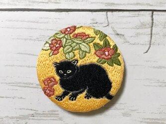 手刺繍日本画ブローチ*菱田春草「黒猫」よりの画像