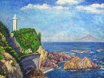 安乗埼灯台と富士山の画像