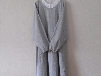 木綿のかっぽう着 灰色チェックの画像