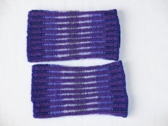 変わりゴム編のレッグウォーマー 紫の画像