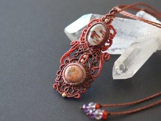 【マクラメ】秋色の首飾り✩✩ガーデンクォーツ&カンテラオパールの画像