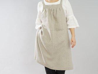 【wafu】中厚 リネンエプロン 美シルエット カフェ サロン 4ポケット / 亜麻ナチュラル z001g-amn2の画像