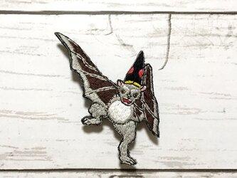 手刺繍浮世絵ブローチ*落合芳幾「諸鳥芸づくし」の蝙蝠の画像
