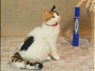 羊毛フェルト 猫 三毛猫さん ねこ ネコ 猫フィギュアの画像