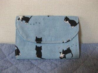 蛇腹カードケース36《黒猫ブルーグレー》の画像