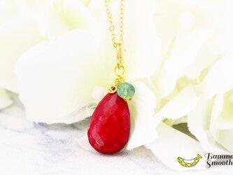 神秘的な美しさ 宝石質 ルビー × エメラルド 大粒 デザイン 14kgf ネックレス 7月誕生石の画像