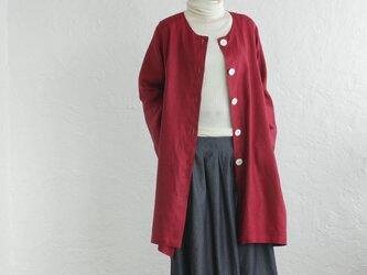 リネン ノーカラーAラインコート 羽織 (ヘリンボーン/レッド)の画像