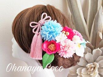 花姫 キュートなピンク椿とマムの髪飾り10点Set No615の画像