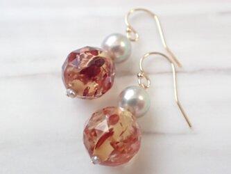 K14GF akoya pearl & amber pierceの画像