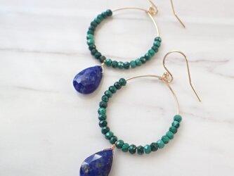 K14GF lapis lazuli & malachite pierceの画像