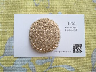 受注制作 刺繍ブローチ goldの画像